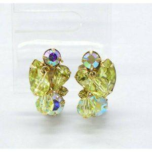 Weiss Yellow Rhinestone Dangle Crystal Flower Clip
